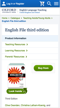 Screenshot of Oxford University Press: English Language Teaching product page as viewed on mobile
